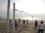 Enjoying a game of volleyball after a day of presentations