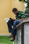 Student Sketching in the Waldensian Church Yard