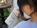 Student Sketching in Clot de Main 4